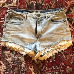 Free people lace cut off shorts